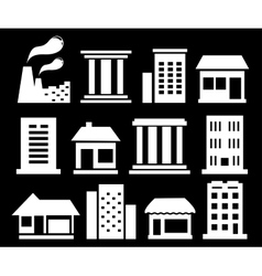 Set white urban buildings vector
