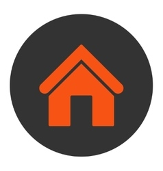 Home flat orange and gray colors round button vector