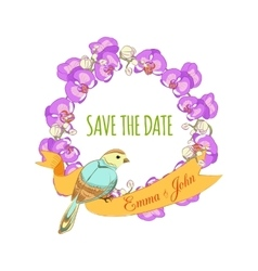 Save the date hand drawn floral wreath with ribbon vector