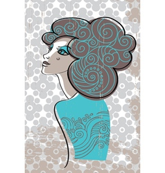 Beautiful woman in retro style vector