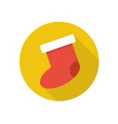 Flat christmas sock icon vector