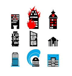 Disaster icon collection fire earthquake and flood vector