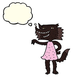 cartoon wolf girl with thought bubble vector image