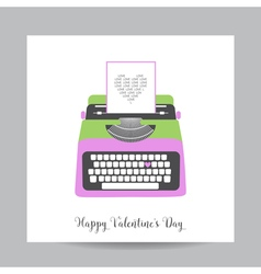 Love Card with Typewriter - Wedding Valentines Day vector image
