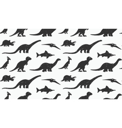 Dinosaurs black silhouettes on white background vector
