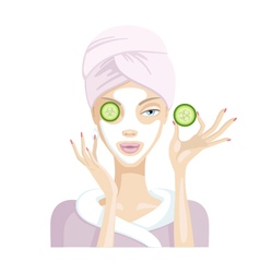 Girl does the mask of cucumber and cream and clay vector