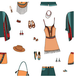 Bohemian fashion style seamless pattern boho and vector
