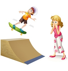 Boy skateboarding on wooden ramp vector