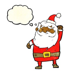 Cartoon santa claus punching air with thought vector
