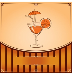 Cocktail glass with orange graphic with place for vector image vector image