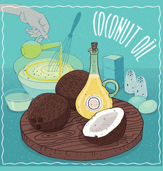 Coconut oil used for cooking vector