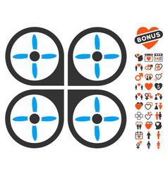 copter icon with valentine bonus vector image