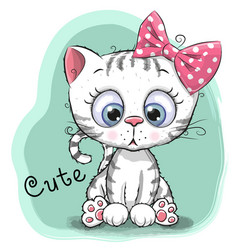 cute drawing kitten girl on a blue background vector image vector image