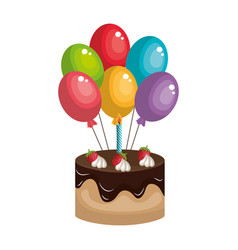 delicious and sweet cake with balloons air vector image vector image