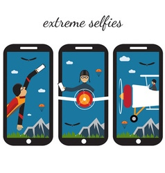 extreme selfie flat design vector image vector image