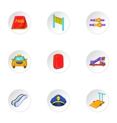 Flying on plane icons set cartoon style vector