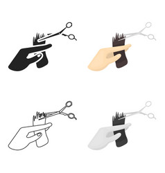 Hair cutting icon in cartoon style isolated on vector