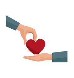 Hand giving heart love symbol vector