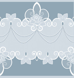 lace pattern with pearls and roses vector image vector image