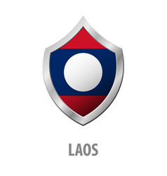 laos flag on metal shiny shield vector image