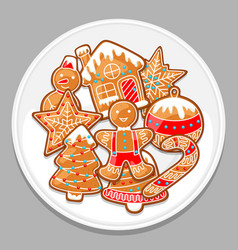 merry christmas various gingerbreads on white vector image