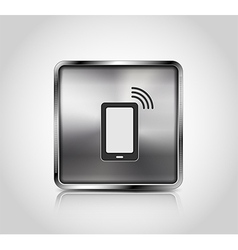 Metal icon smartphone wireless connection vector image vector image
