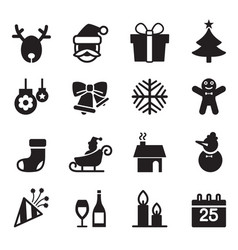 silhouette christmas icons set vector image
