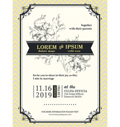 Vintage Wedding invitation frame template vector image