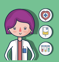 Woman doctor with first aid icons vector