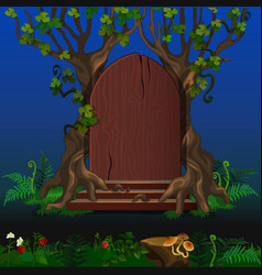 Wooden door in magic forest cartoon landscape vector