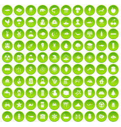 100 earth icons set green circle vector