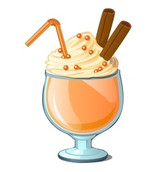 Coffee cocktail with cream and cinnamon vector image