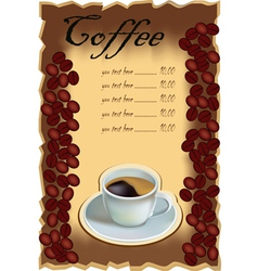 Coffee tee menu vector