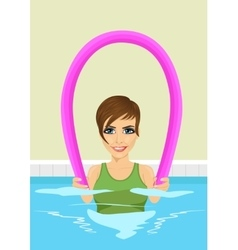 Young beautiful woman using pool noodle vector