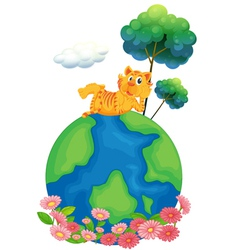 A tiger at the top of a globe vector