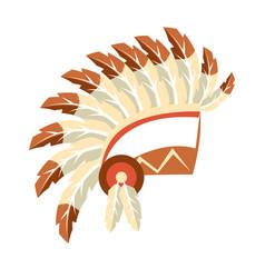 chief war bonnet headdress native american indian vector image