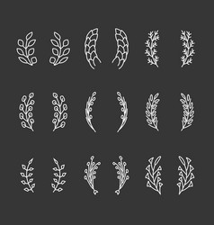laurel wreaths thin line icons vector image