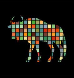wildebeest antelope mammal color silhouette animal vector image