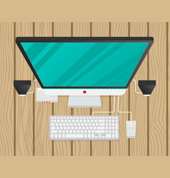 Desktop personal computer top view vector