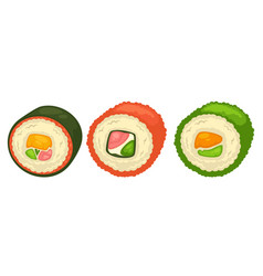 Delicious sushi rolls with fish and greens vector
