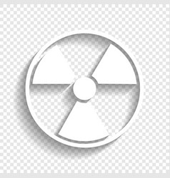 Radiation round sign white icon with soft vector