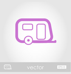 Camping trailer outline icon summer vacation vector