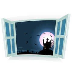 halloween landscape by the window vector image