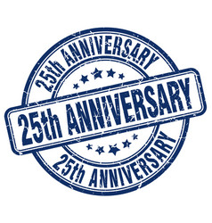 25th anniversary blue grunge stamp vector