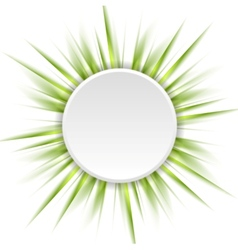 Green beams and white circle abstract background vector