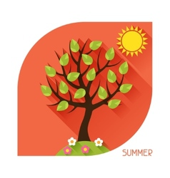 Seasonal with summer tree in flat vector