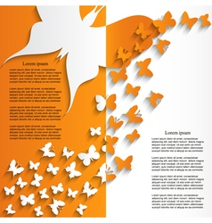 Brochure template design with cut butterflies vector