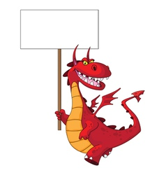 dragon holding a blank sign vector image