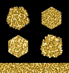 Editable brush set golden glitter vector