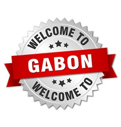 Gabon 3d silver badge with red ribbon vector